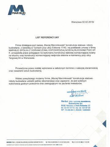 referencje MARBUD (Wzmocnienie Targowa 84)