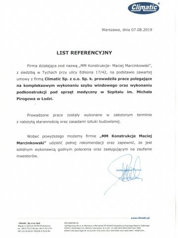 Referencje- Climatic. Szpital Pirogowa